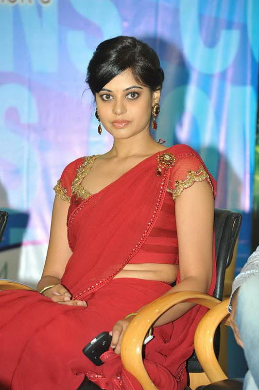 Hot Bindu Madhavi Navel Photos In Red Saree - Tollywood Stars