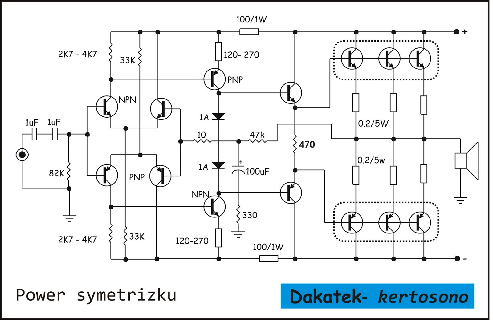 DK Tech PCB Audio Power AMPLIFIER: SKEMA ELEKTRONIKA