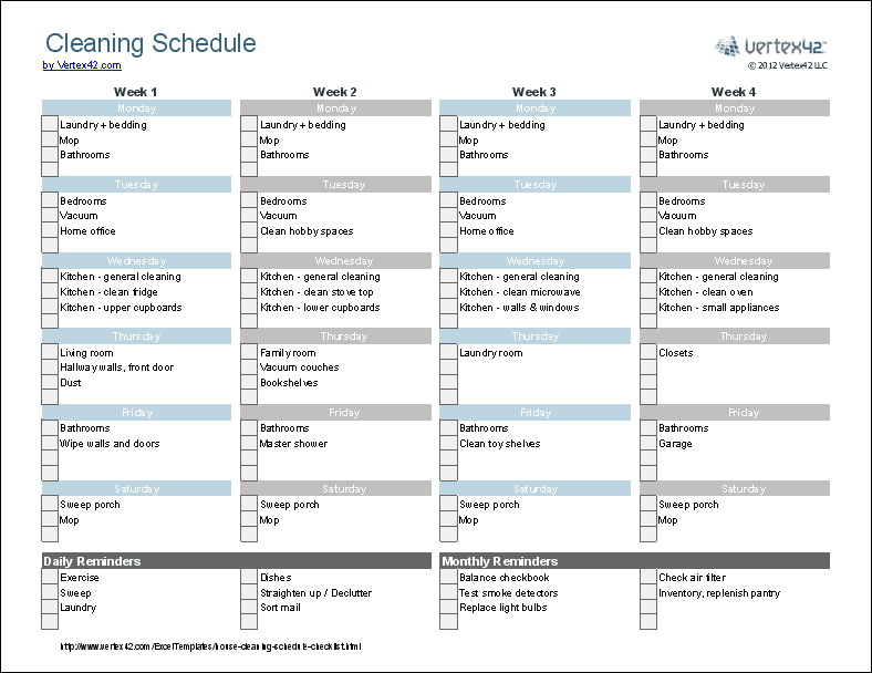 Wizards of english helpful tip make a cleaning schedule for Domestic cleaning schedule template