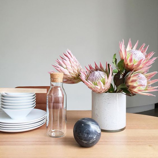 Safari Fusion blog | Pretty Protea | Kitchen table styling featuring King Proteas by Steve Cordony on Instagram
