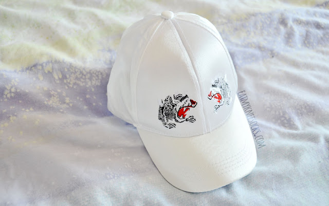 White silky satin double tiger head embroidered baseball cap from Sammydress, vintage oriental vibes.