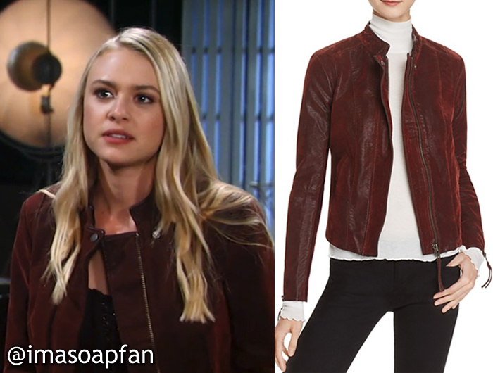 Kiki Jerome's Wine Vegan Leather Jacket - General Hospital, Season 54, Episode 10/07/16