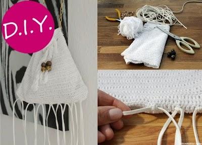 Bolso de crochet con flecos tutorial