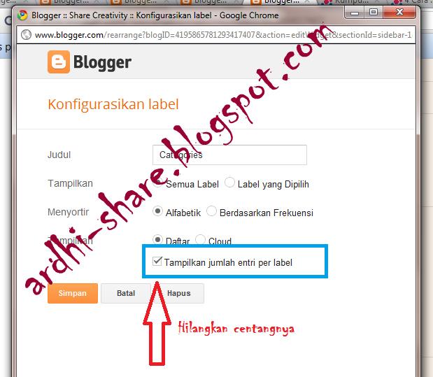 Cara Memasang Daftar Isi Posting Pada Sidebar Wordpress: Menghilangkan Jumlah Artikel Pada Label Official Site