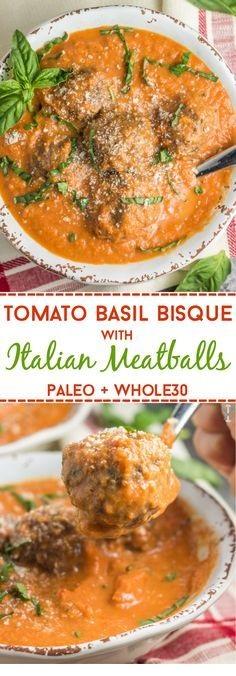 Tomato Basil Bisque with Italian Meatballs