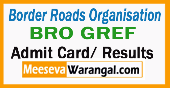 BRO GREF Admit Card BRO GREF Result Download