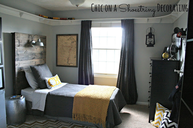 DIY Bigger Boy Room, Yellow & Gray, by Chic on a Shoestring Decorating