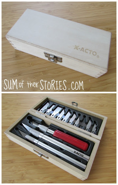 my old x-acto knife box before the makeover