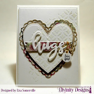 Stamp/Die Duos: Hugs, Stamp Set: Festive Favors Tag Sentiments  Mixed Media Stencils: Circles  Custom Dies: Ornate Hearts, Pennant Flags, Pierced Rectangles, Festive Favors  Paper Collection: Romantic Roses