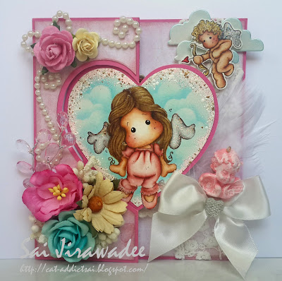 Magnolia Sweetness Angel Tilda Heart Flip Card