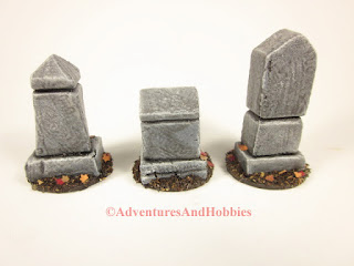 Rear view of three cemetery monuments for 25 to 28mm scale wargames.
