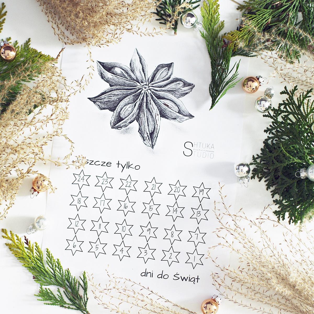 kalendarz adwentowy do pobrania za darmo i druku w domu, tylko na any-blog.pl