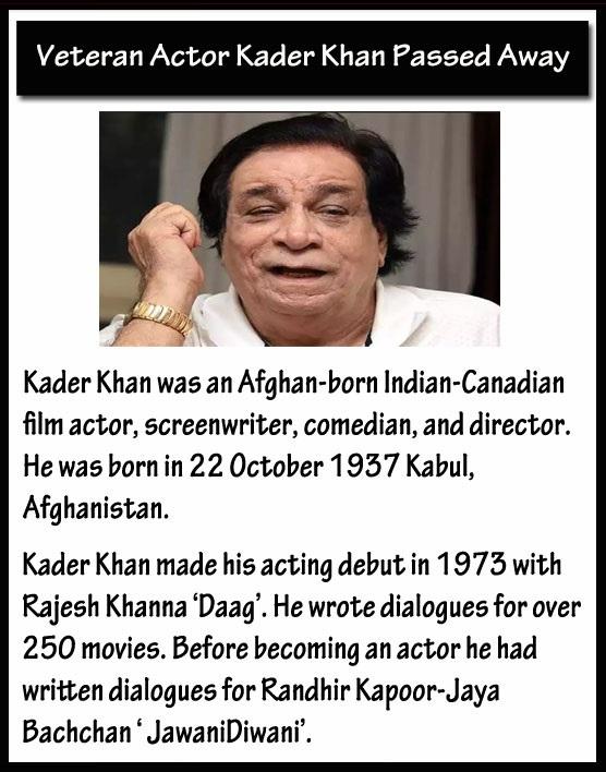 Veteran Actor Kader Khan Passed Away