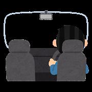 車内から見た運転をする人のイラスト(フレーム素材)