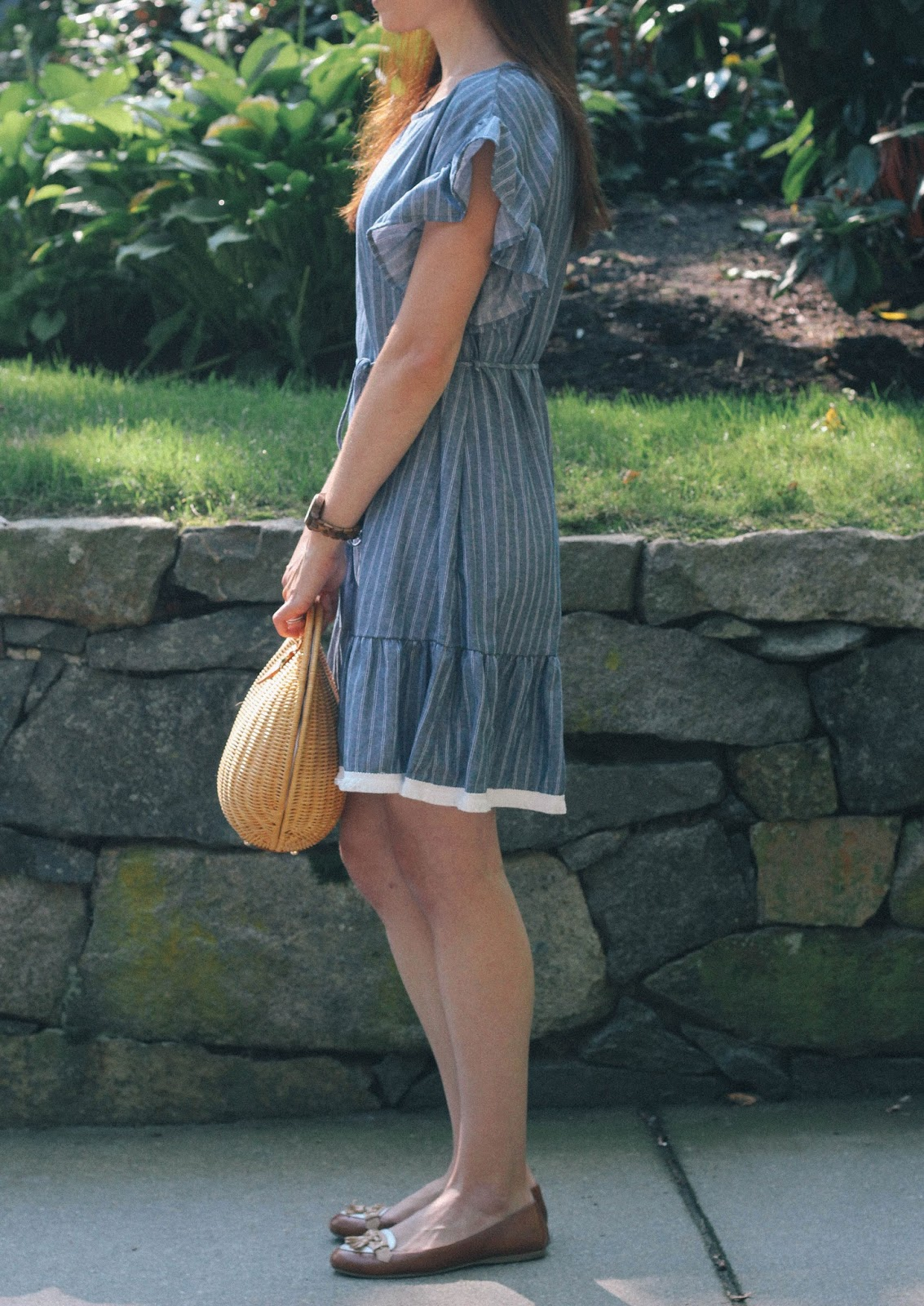 A family morning walk around Chestnut Hill in my new favorite ruffle trim shift dress!