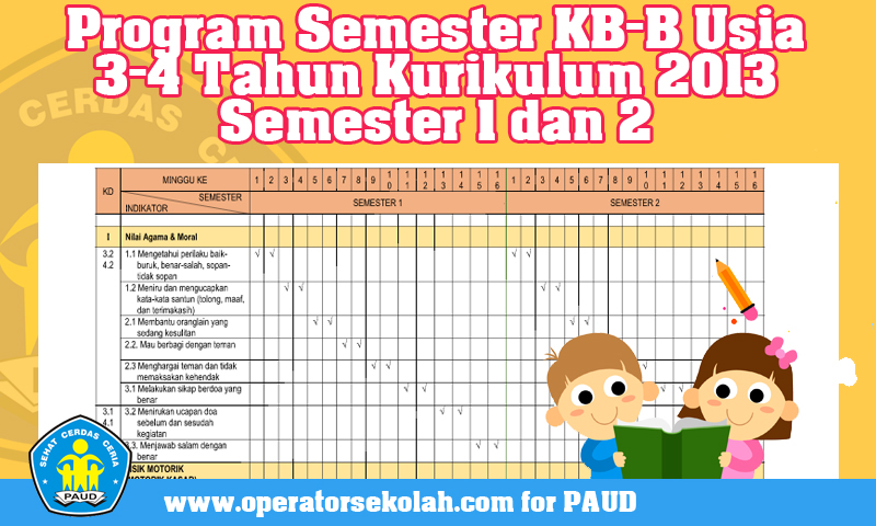 Download Program Semester KB-B Usia 3-4 Tahun Kurikulum 2013 Semester 1 dan 2