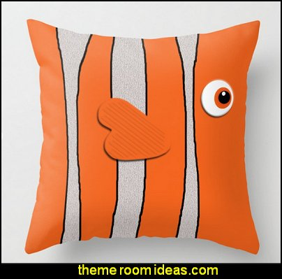 Cute Clown Fish Throw Pillow  underwater bedroom ideas - mermaid bedroom decor - under the sea theme bedrooms - mermaid theme bedrooms - sea life bedrooms - Little mermaid princess Ariel - mermaid bedding - Disney's little mermaid - clamshell bed -  mermaid murals - mermaid wall decal stickers - Sponge Bob theme bedrooms -