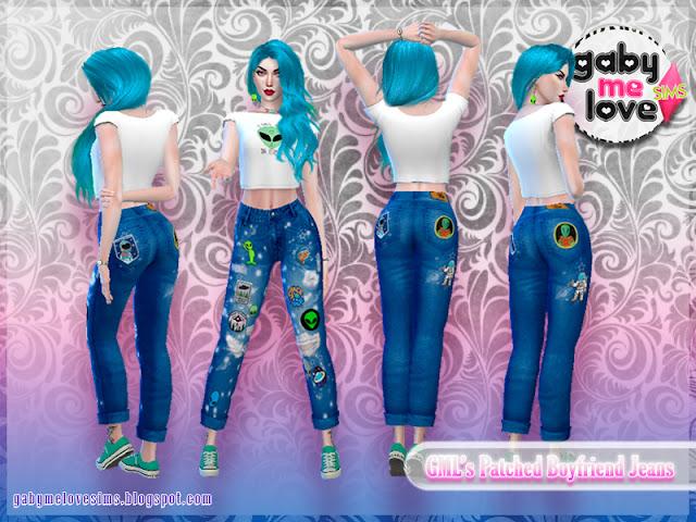 [Gabymelove Sims] GML's Patched Boyfriend Jeans, Estilo 4, Aliens.