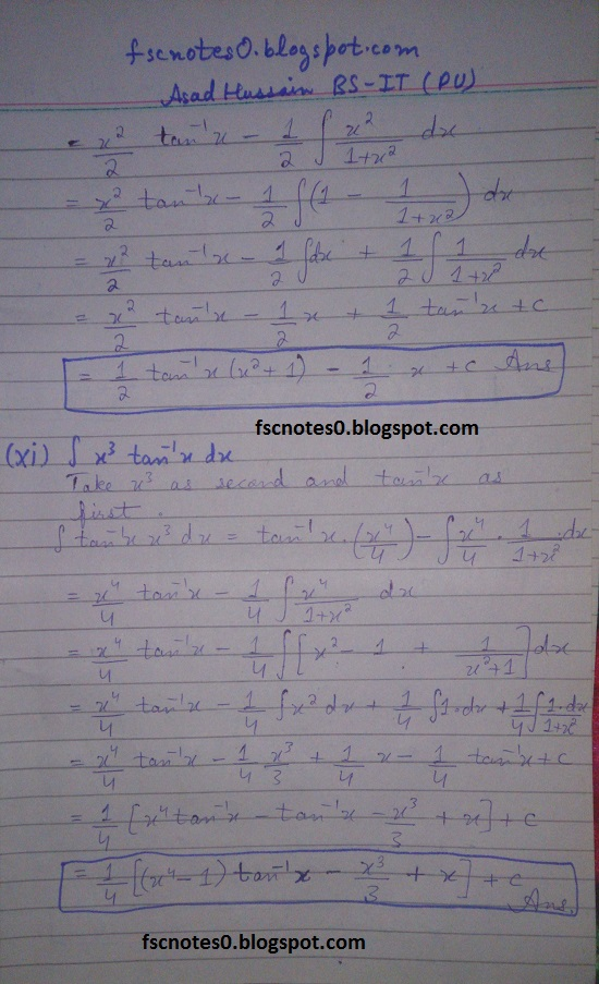 FSc ICS Notes Math Part 2 Chapter 3 Integration Exercise 3.4 Question 1 Asad Hussain 5