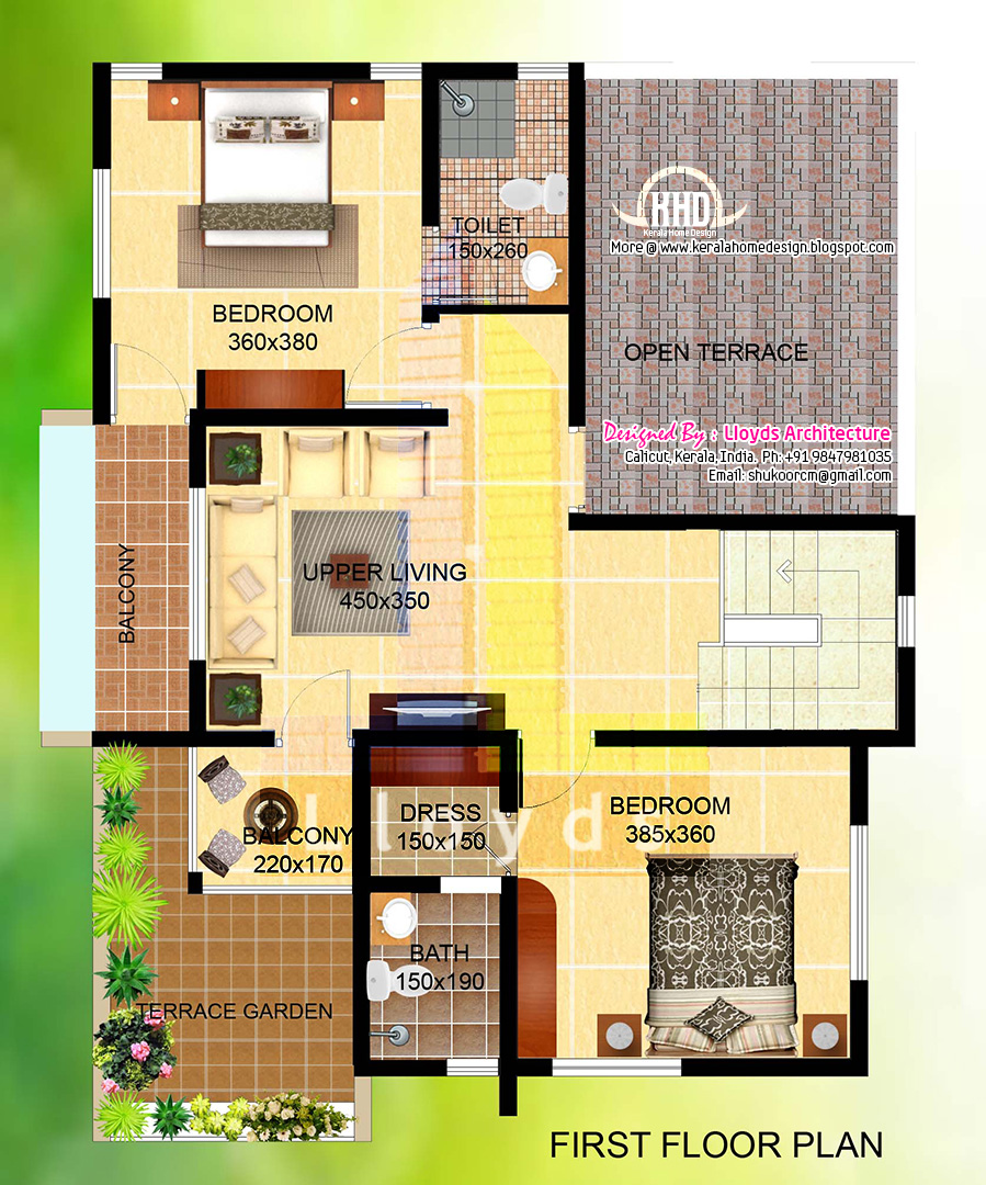 2000 villa floor plan and elevation kerala home for Villa designs and floor plans