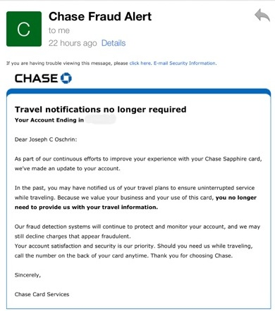 New Chase Sapphire Preferred Benefit: I no longer have to