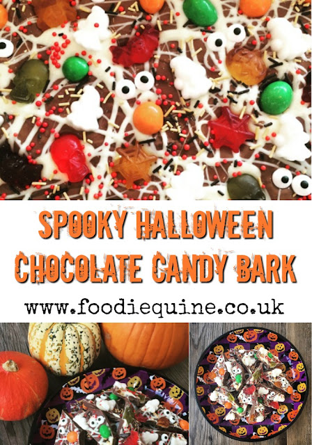 www.foodiequine.co.uk Spooky Halloween Chocolate Candy Bark. This no bake treat literally takes minutes to make but is such fun and really effective. Perfect for Trick or Treaters - It's Bark is worse than its Bite!