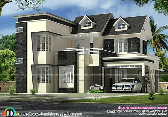 2745 sq-ft 4 bedroom modern dormer window home