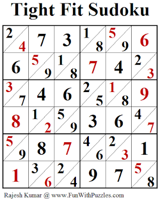 Tight Fit Sudoku (Fun With Sudoku #249) Puzzle Solution