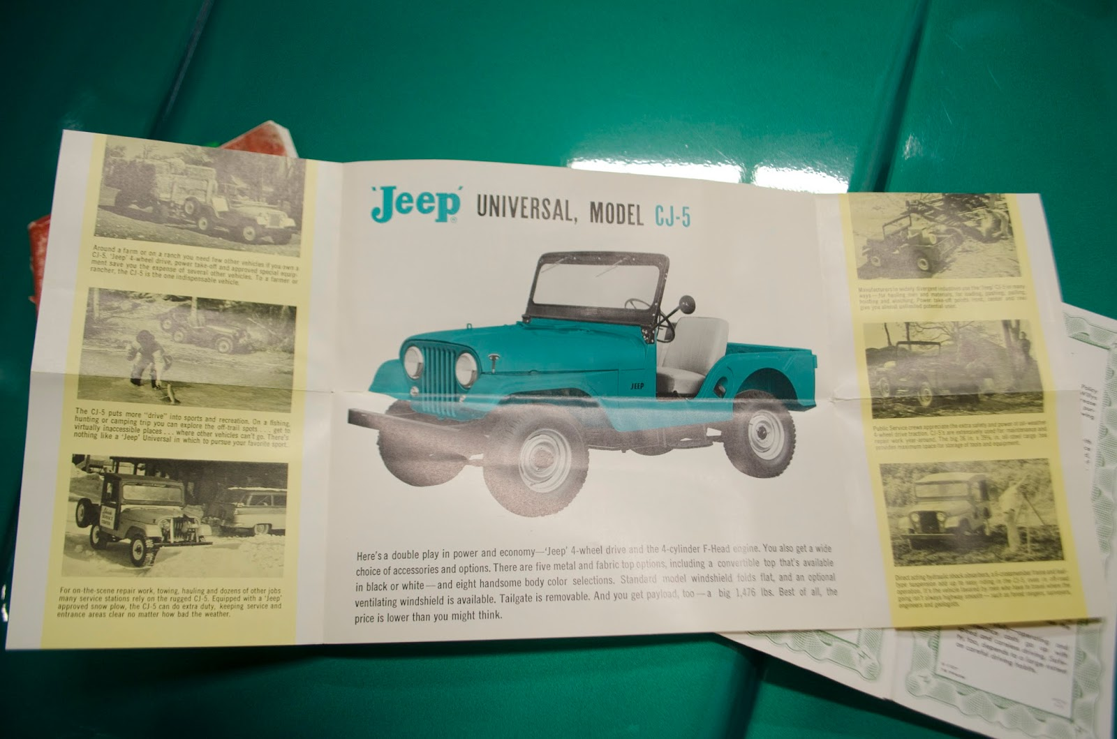 With the Jeep, Baxter purchased the factory tire jack and original  literature. Below is the owner's manual, registration receipts, Jeep  Universal CJ5 ...
