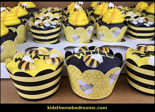 Bumble Bee Cupcake Wrappers  bee themed party - bumble bee decorations - Bumble Bee Party Supplies - bumble bee themed party - Pooh themed birthday party - spring themed party - bee themed party decorations - bee themed table decorations - winnie the pooh party decorations - Bumblebee Balloon -  bumble bee costumes