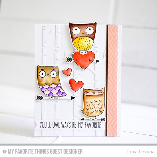 Handmade card from Lexa Levana featuring I'm Owl Yours stamp set and Die-namics, Birch Trees Die-namics #mftstamps