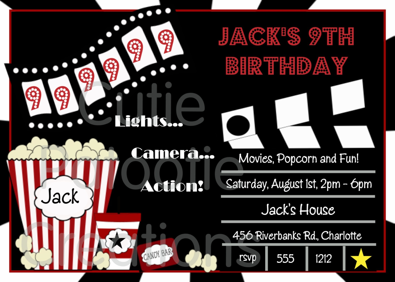 Slobbery image for printable movie ticket invitation
