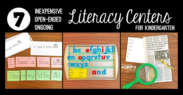 sentence strip puzzles, magnetic letters, newspaper word search literacy centers