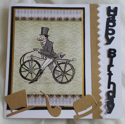 "Vintage gentleman on bicycle 7"" square card - Happy Birthday"