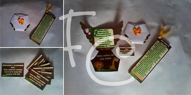 Convite e Marcador de Livro - Chá de Bebê - Tema Safari