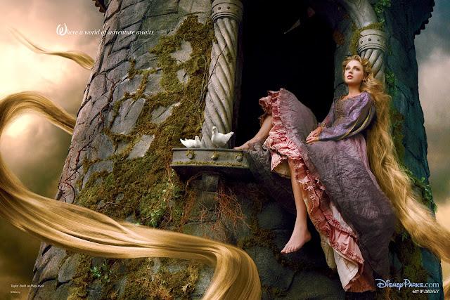 A cantora Taylor Swift como Rapunzel.