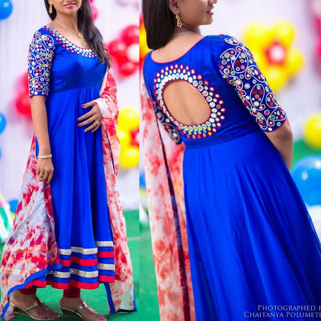 Mirror Work Blue Salwar by Isaa