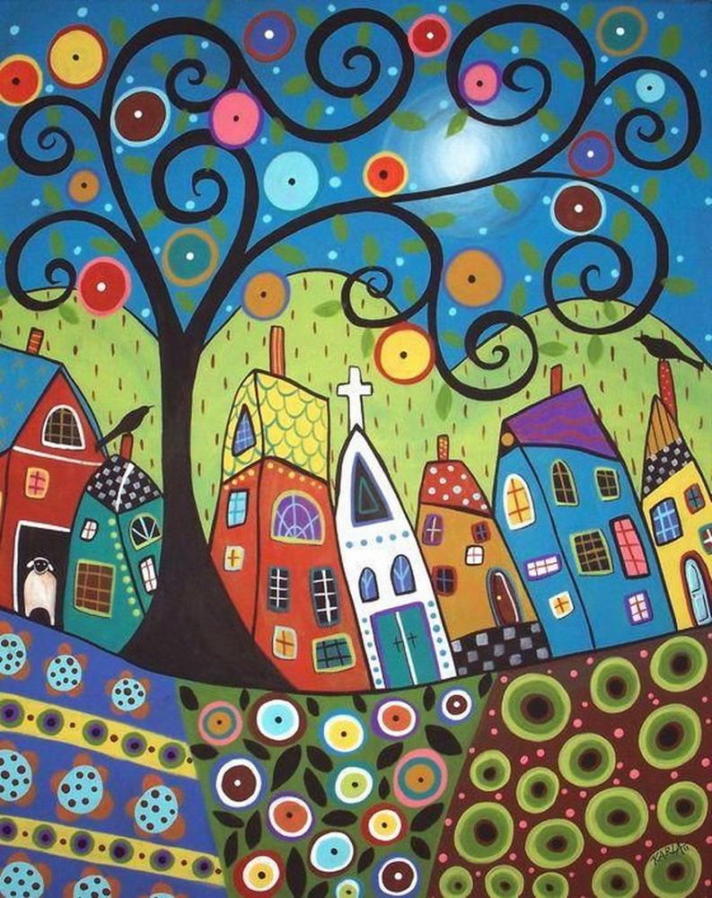 Im genes arte pinturas flores y paisajes naif en el arte for Case pc colorati