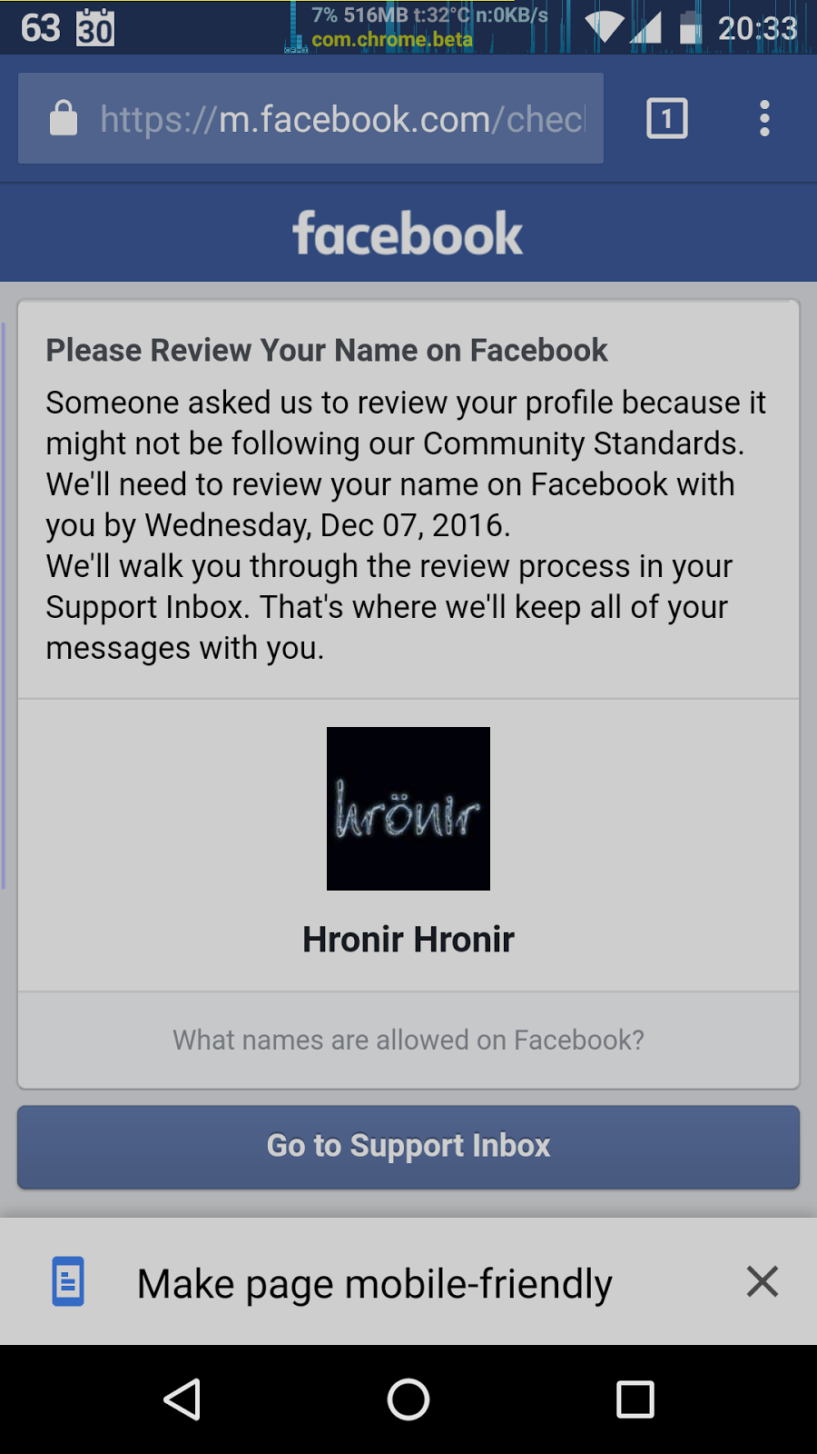Facebook bans hronir