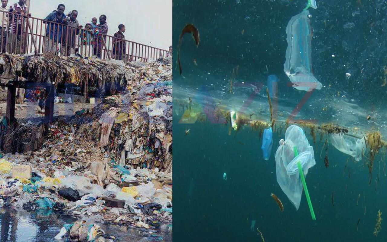 Sampah di sungai melintasi Jembatan Pedesaan dan Lingkungan sekitar
