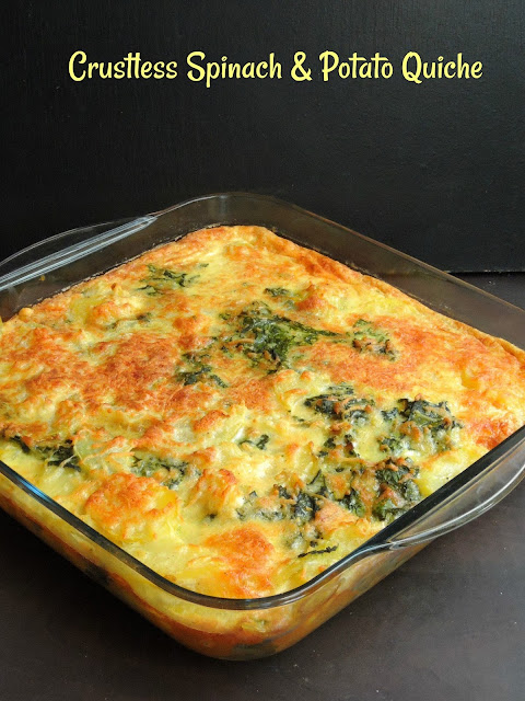 Crustless Spinach Quiche, Potato & Spinach Quiche