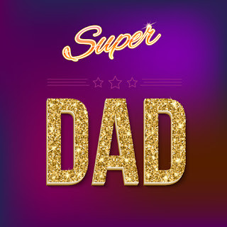 Clipart Image of a Glittery Super Dad Message for Father's Day