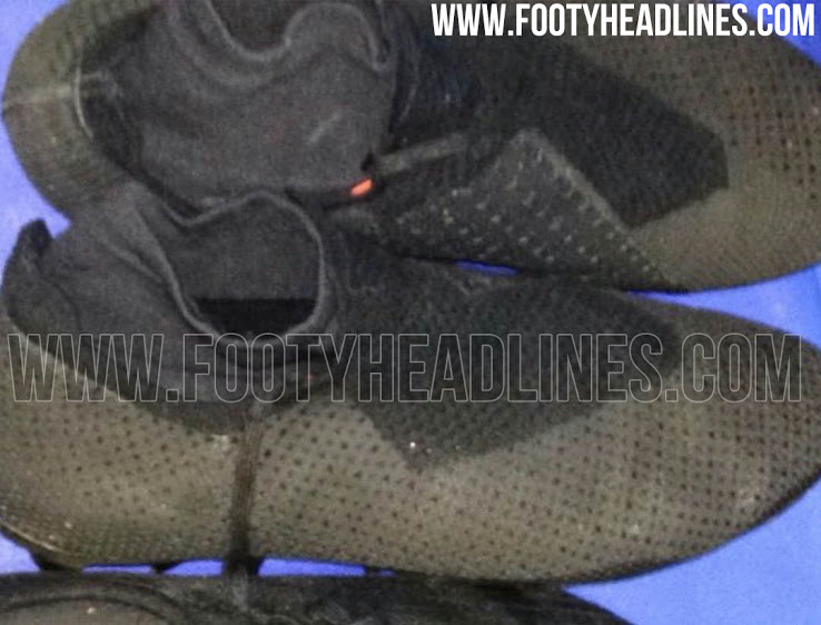 buy online e2620 2a99e Totally blackout to hide the final design of the boots, the faux-laceless  Adidas 2018 prototype football boot looks like a mixture of the unreleased  Adidas ...