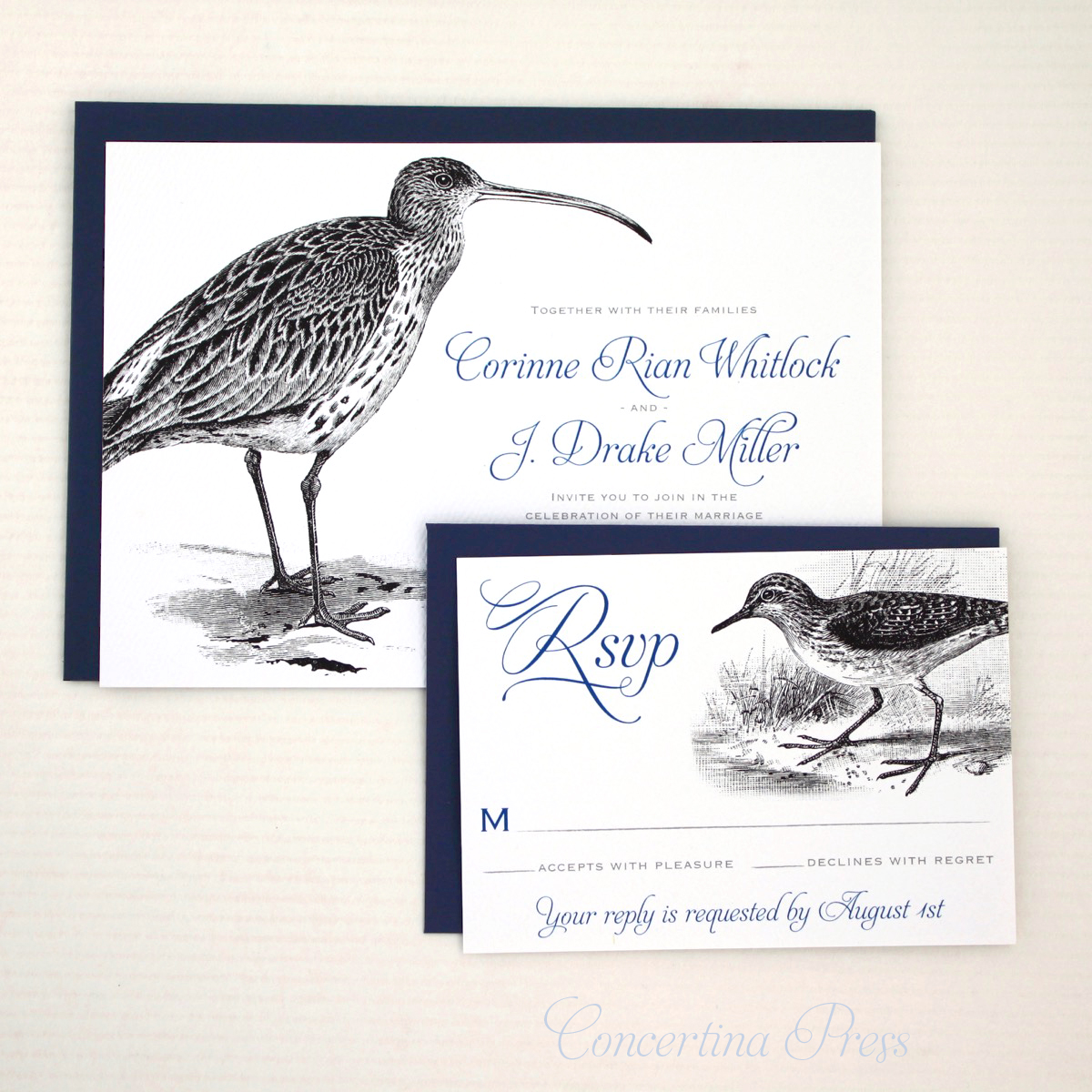 Curlew and Sandpiper Wedding Invitations for Lovebirds who LOVE birds - from Concertina Press