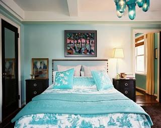 Dormitorio en negro y turquesa