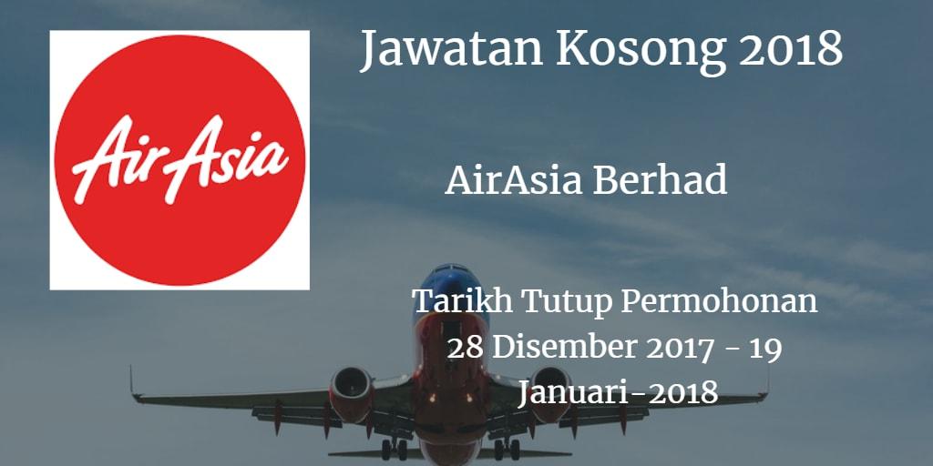 Jawatan Kosong AirAsia Berhad 28 Disember 2017 - 19 Januari 2018