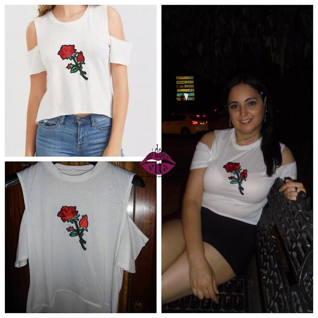 camiseta con rosa de Rosegal