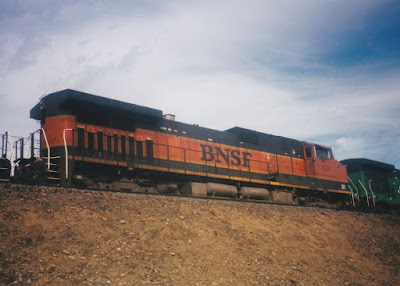 BNSF C44-9W #1021 in Vancouver, Washingon, on July 13, 1997