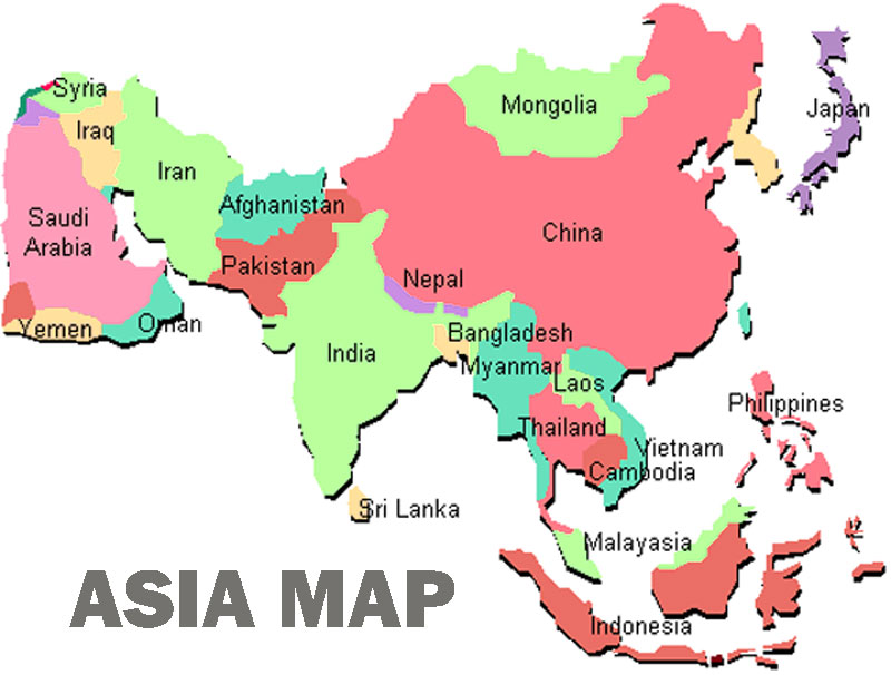 Asia map complete country image