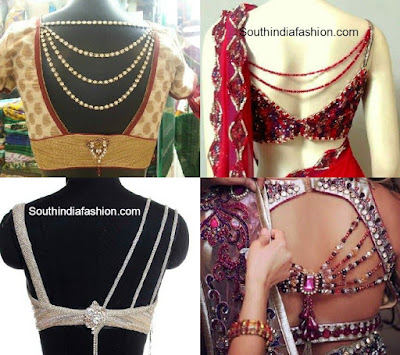jeweled back neck designs, blouse back neck, fancy blouse designs, beautiful blouse designs, glamorous blouse designs, bollywood style blouse designs, thoda hatke blouse designs,